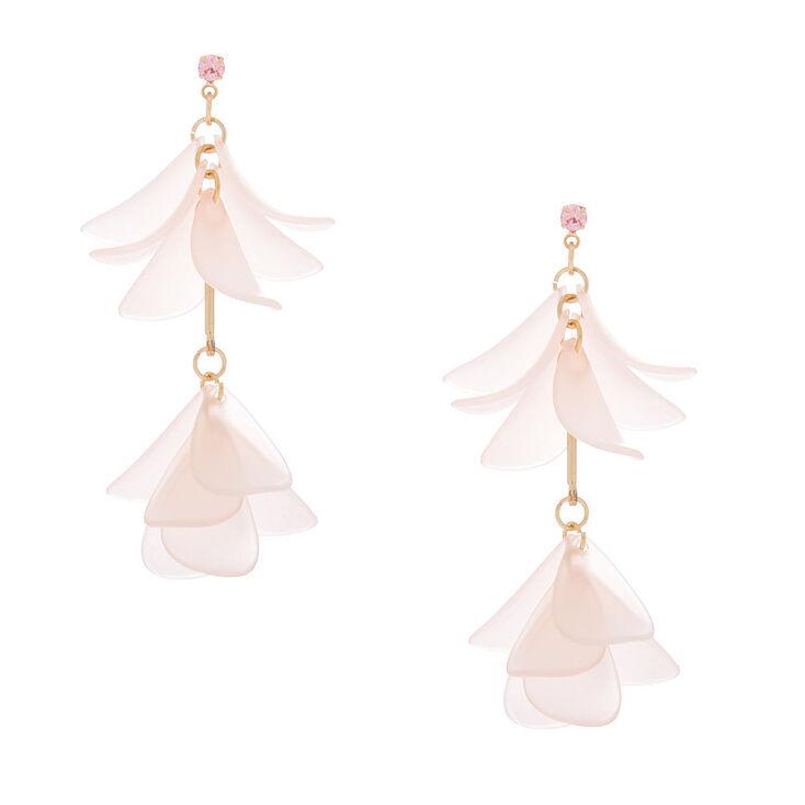 """Gold 2"""" Flower Petal Drop Earrings - Pink,"""