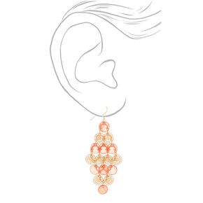 "Gold 2.5"" Filigree Disk Chandelier Drop Earrings - Coral,"