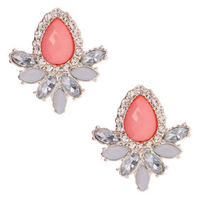 Silver Teardrop Crystal Stud Earrings - Pink,