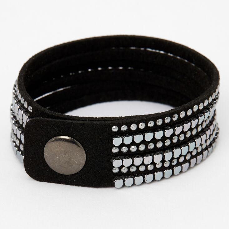 Hematite Studded Black Wrap Bracelet,