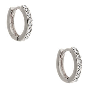 Silver 10MM Crystal Huggie Hoop Earrings,