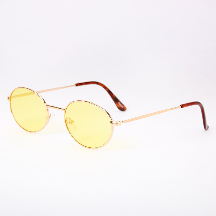 1960s Sunglasses | 70s Sunglasses, 70s Glasses Icing Slim Oval Sunglasses - Yellow $12.99 AT vintagedancer.com