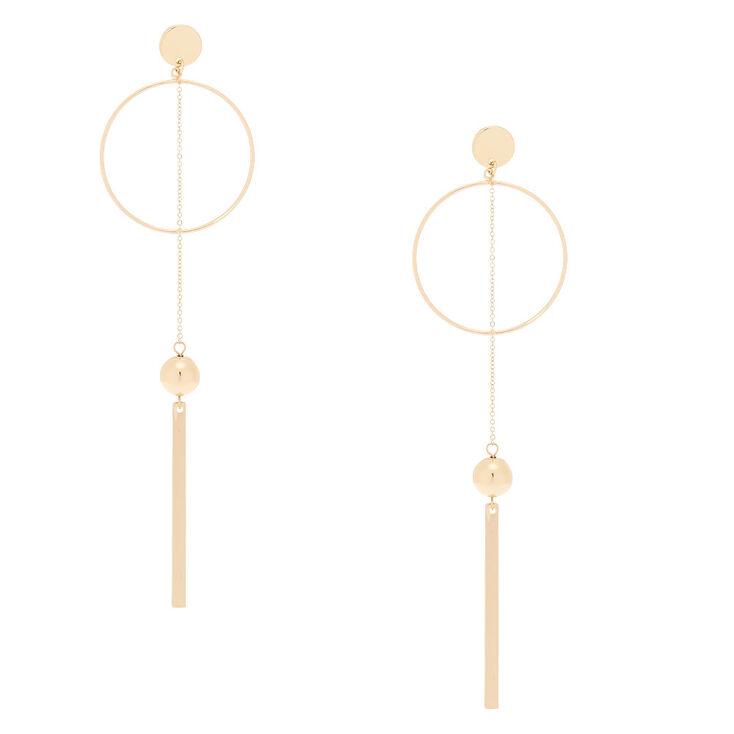 """Gold 5"""" Pendulum Drop Earrings,"""