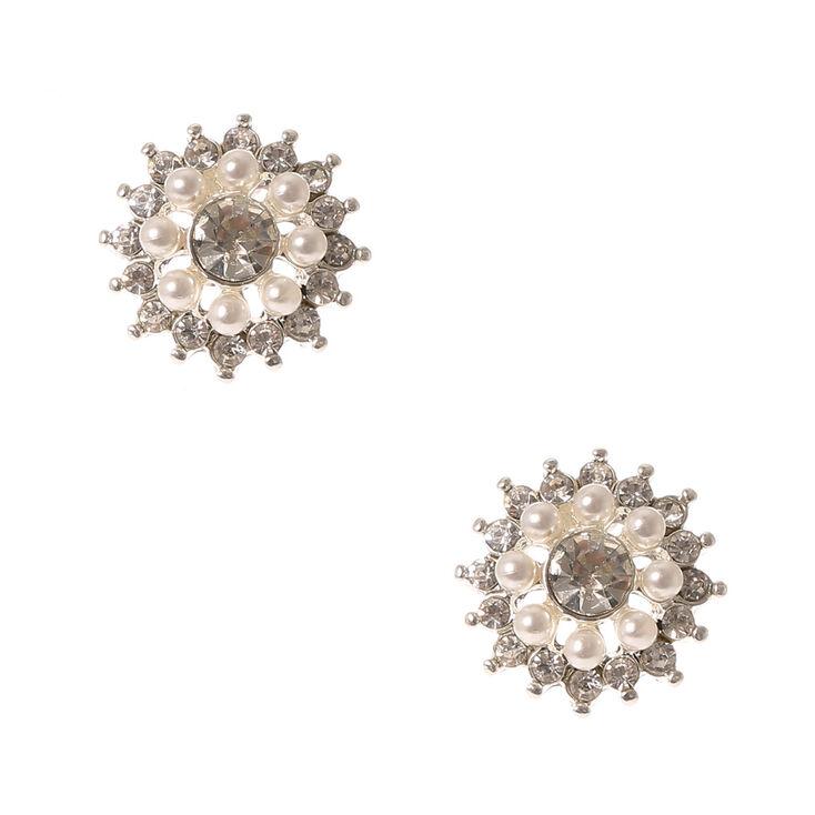 Pearl & Crystal Flower Stud Earrings,