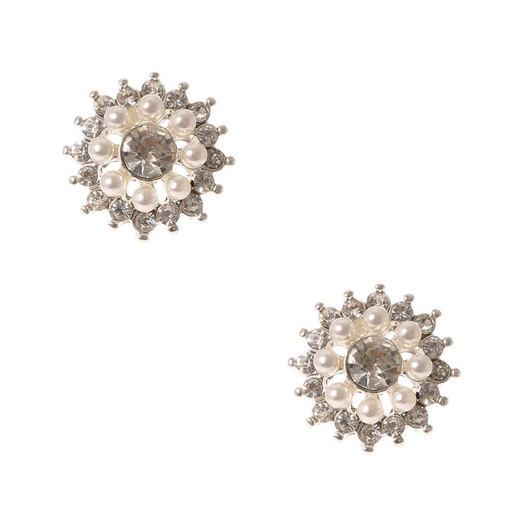 Pearl & Crystal Flower Stud Earrings,