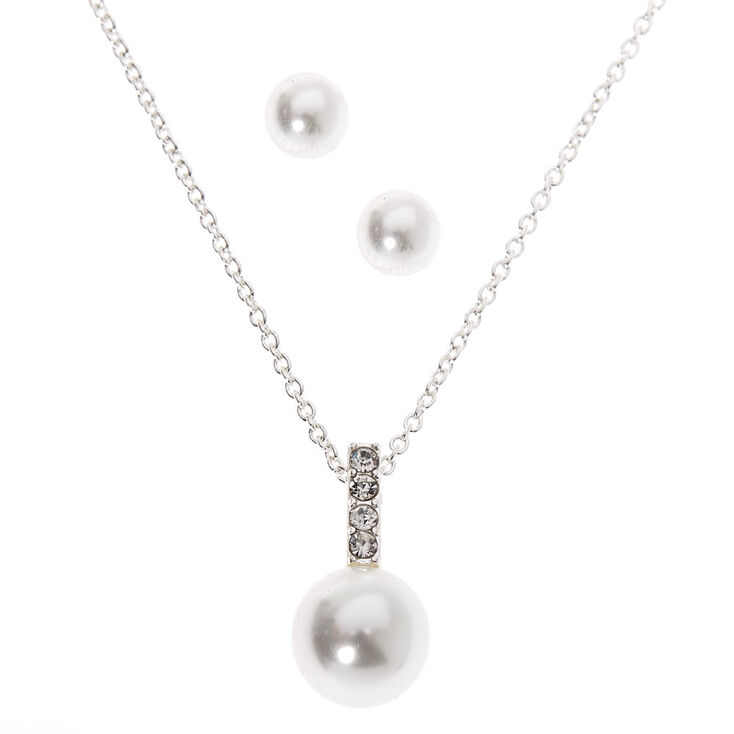 Silver Pearl Bar Jewelry Set - 2 Pack,