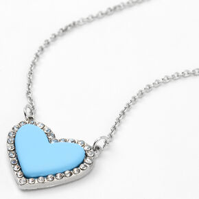 Silver Crystal Framed Heart Pendant Necklace - Blue,