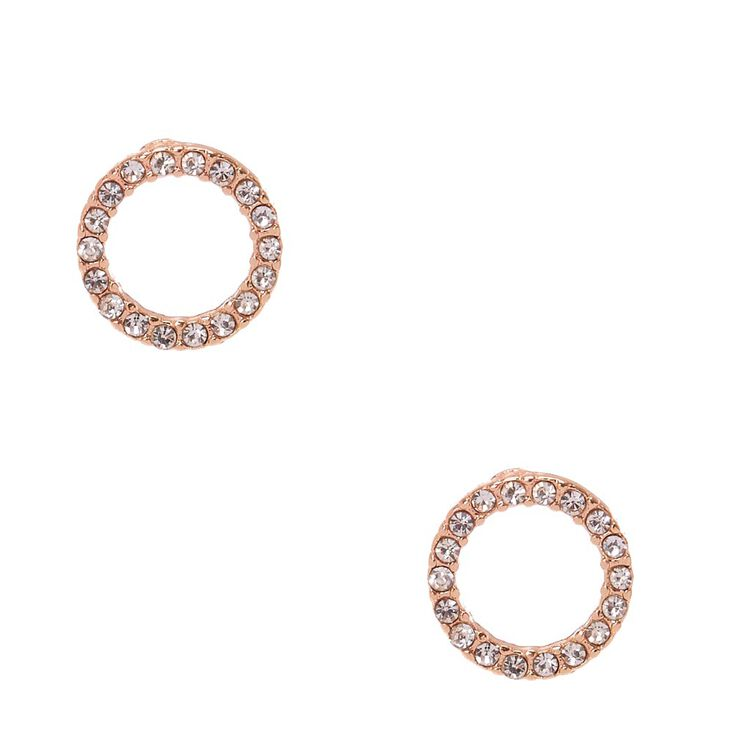 Rose Gold Tone Faux Crystal Lined Open Circle Stud Earrings,