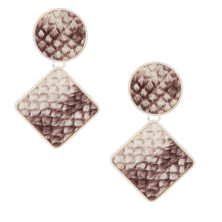 "2"" Snakeskin Geometric Drop Earrings,"