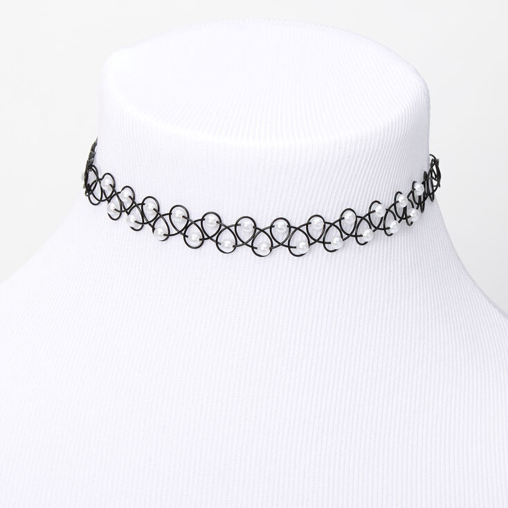 Pearl Tattoo Choker Necklace,