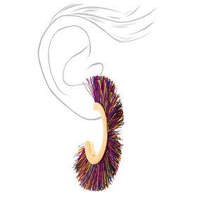 Gold 25MM Tassel Hoop Earrings - Rainbow,