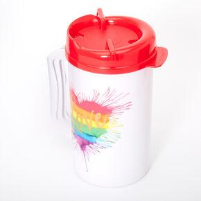 Rainbow Love Heart Splatter Beverage Jug - White,