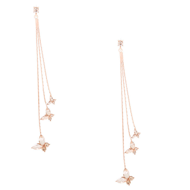 "Rose Gold Rhinestone 2"" Butterfly Drop Earrings,"