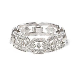 Silver Rhinestone Deco Stretch Bracelet,