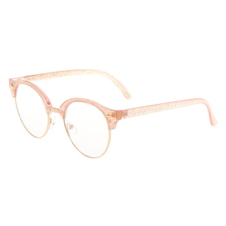Rose Gold Glitter Browline Clear Lens Frames - Pink,