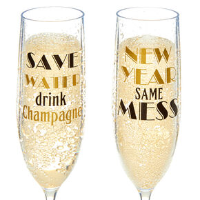 New Years Eve Champagne Flutes - 4 Pack,