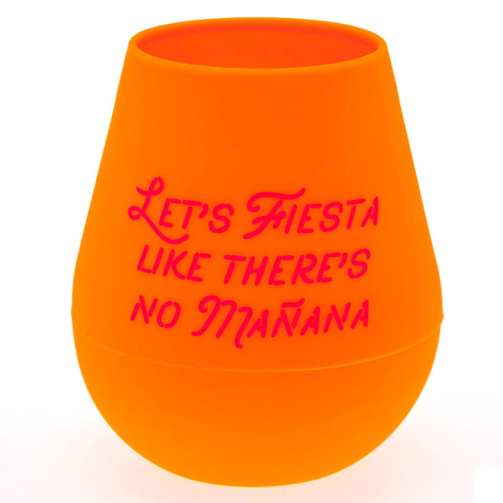 "Orange ""Lets Fiesta"" Silicone Wine Glass,"