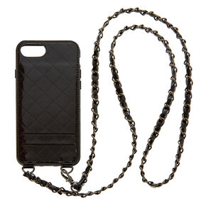 Black Quilted Crossbody Phone Case - Fits iPhone 6/7/8 Plus,