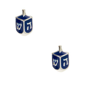 Sterling Silver Dreidel Stud Earrings - Navy,