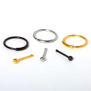 Mixed Metal 20G Stud & Hoop Nose Rings - 6 Pack,