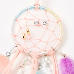 Small Pastel Beaded Dreamcatcher Wall Art - Blush Pink,