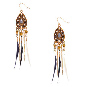 "Gold 4"" Feather Drop Earrings,"