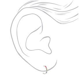 Sterling Silver Rainbow Stone Hoop Earrings,
