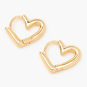 Gold 15MM Tube Heart Huggie Hoop Earrings,