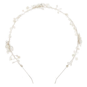 Silver Iridescent Pearl Headband,