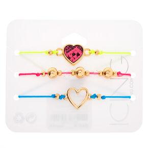 Gold Neon Heart Adjustable Bracelets - 3 Pack,