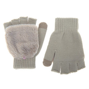Fingerless Gloves With Fur Mitten Flap - Gray,