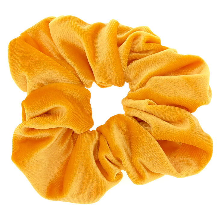 Oversized Velvet Hair Scrunchie - Mustard Yellow,
