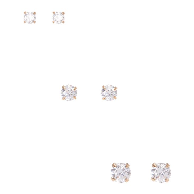 Gold Framed Graduated Cubic Zirconia Stud Earrings,
