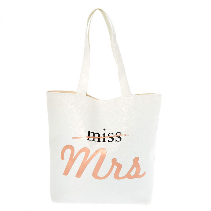 Miss To Mrs. Tote Bag - White,