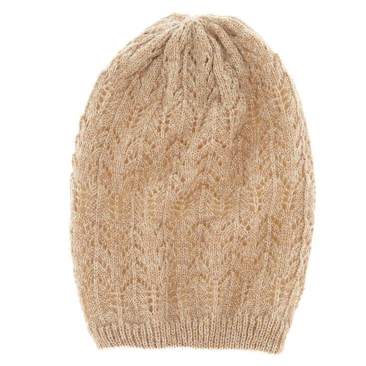 Double Layer Knit Beanie - Tan,
