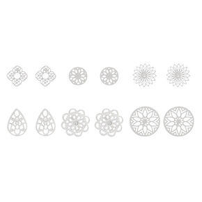 Silver Filigree Stud Earrings - 6 Pack,