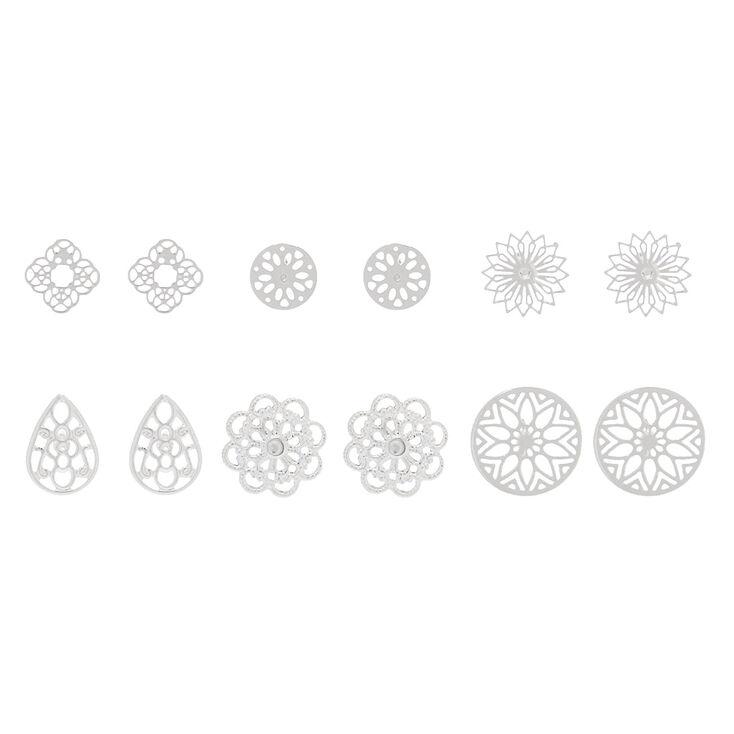 Silver Filigree Stud Earrings - 6 Pack,