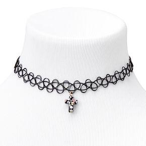 Floral Cross Tattoo Choker Necklace - Black,
