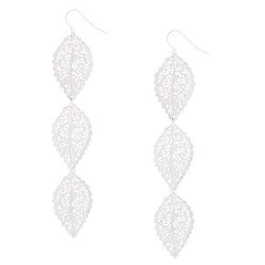 "Silver 3.5"" Filigree Leaf Drop Earrings,"