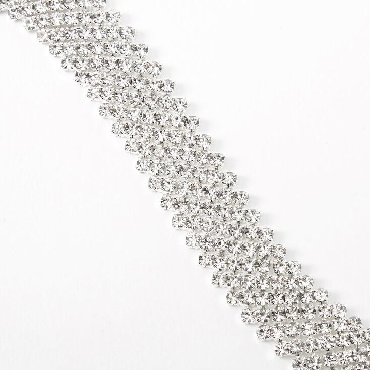 Silver Rhinestone Zig Zag Chain Bracelet,