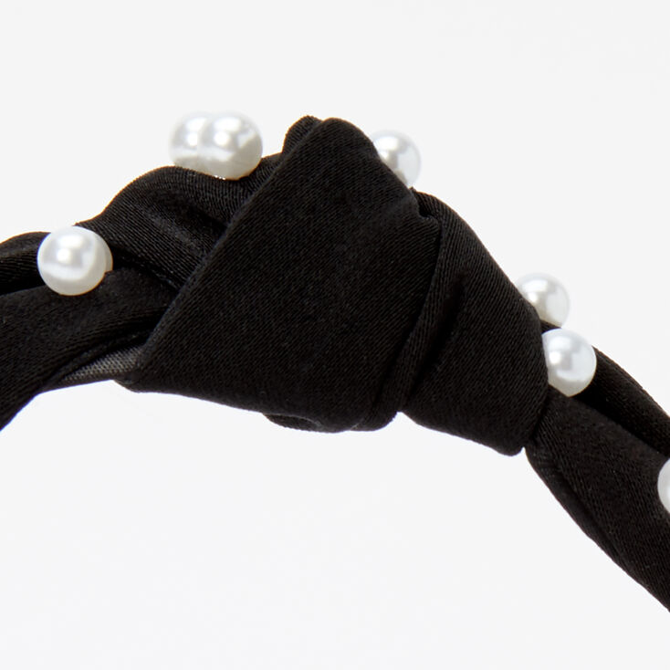 Velvet Pearl Knotted Headband - Black,