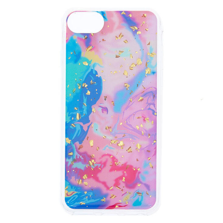 Rainbow Marble with Gold Foil Flakes Phone Case - Fits iPhone 6/7/8 Plus,