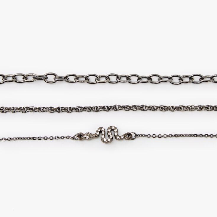 Hematite Rhinestone Snake Chain Bracelet Set - 3 Pack,