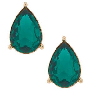 Teardrop Stud Earrings - Emerald,