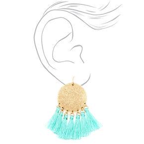 """2.5"""" Disc Tassel Drop Earrings - Mint,"""