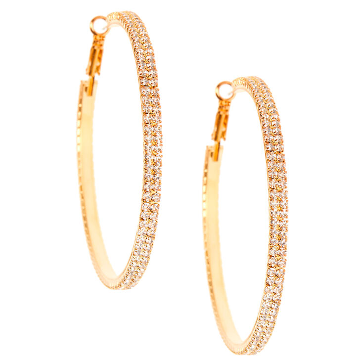 Gold Rhinestone 60MM Hoop Earrings,