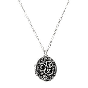Silver Floral Locket Long Pendant Necklace,