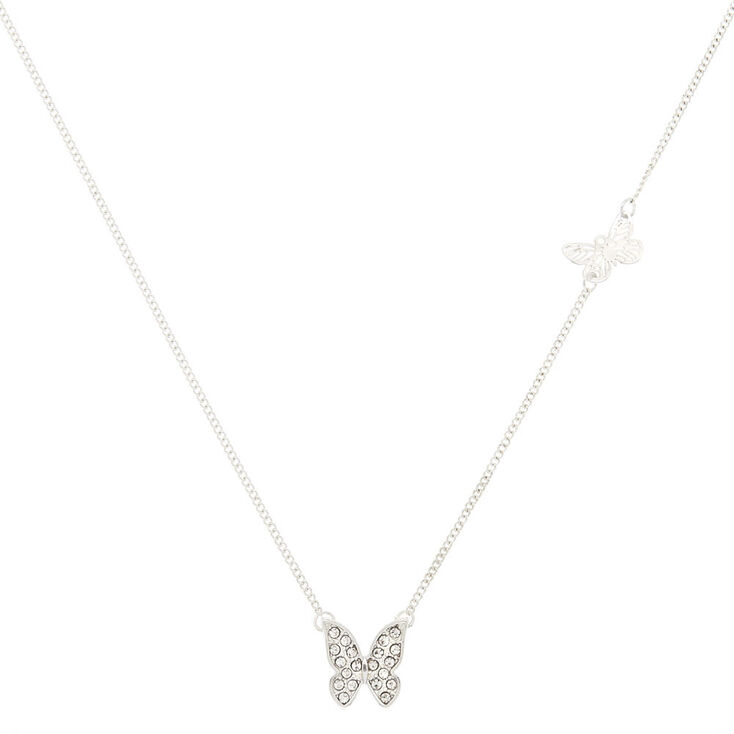Silver Double Butterfly Pendant Necklace,