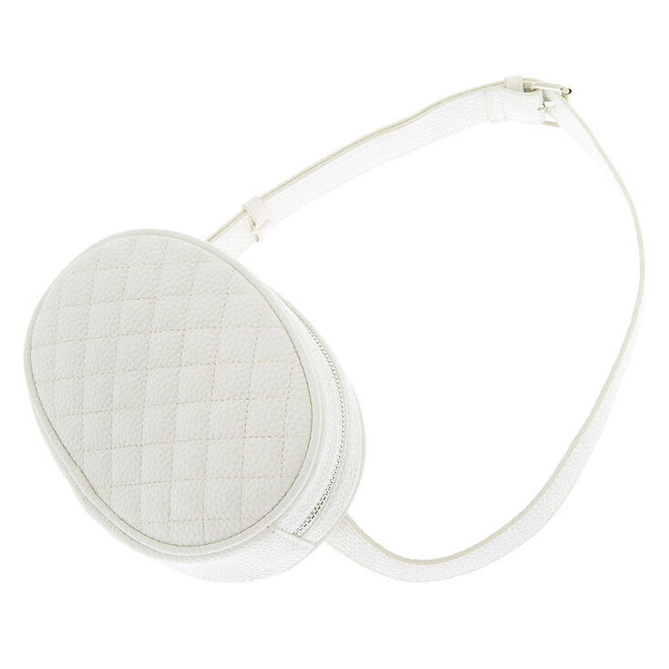 Faux Leather Quilted Fashion Fanny Pack - White,