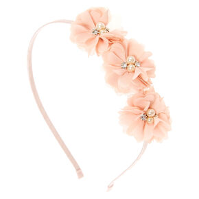 Blush Chiffon Flower Trio Headband,